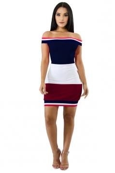 Sexy Off Shoulder Color Block Bodycon Dress Navy Blue