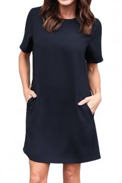 Womens Loose Short Sleeve Pocket Crew Neck Smock Dress Black
