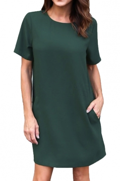 Womens Loose Short Sleeve Pocket Crew Neck Smock Dress Dark Green