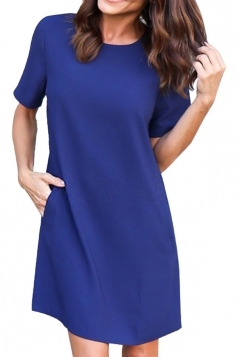 Womens Loose Short Sleeve Pocket Crew Neck Smock Dress Sapphire Blue