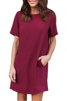 Womens Loose Short Sleeve Pocket Crew Neck Smock Dress Ruby