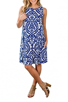 Womens Vintage Sleeveless Pocket Casual Tribal Dress Blue