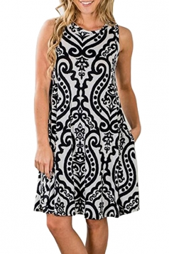 Womens Vintage Sleeveless Pocket Casual Tribal Dress Black