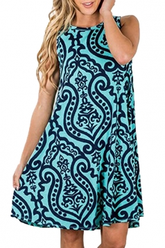 Womens Vintage Sleeveless Pocket Casual Tribal Dress Green