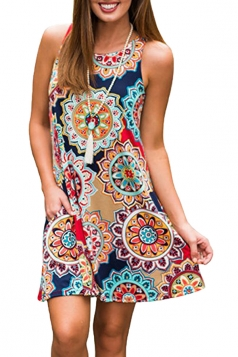 Womens Vintage Sleeveless Pocket Casual Tribal Dress Multicolor