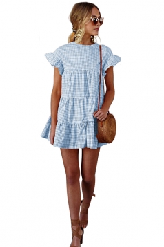 Womens Trendy Short Sleeve Ruffle Split Plaid Layered Dress Blue
