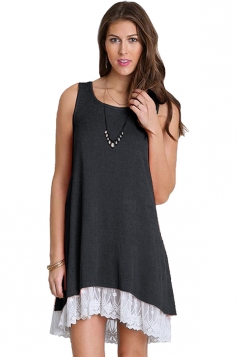 Loose Crew Neck Sleeveless High Low Lace Hem Plain Tank Dress Black