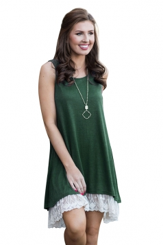 Loose Crew Neck Sleeveless High Low Lace Hem Plain Tank Dress Green