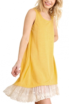 Loose Crew Neck Sleeveless High Low Lace Hem Plain Tank Dress Yellow