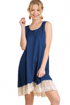 Crew Neck Sleeveless High Low Lace Hem Plain Tank Dress Navy Blue