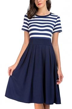 Crew Neck Short Sleeve Stripe Patchwork Midi Skater Dress Navy Blue
