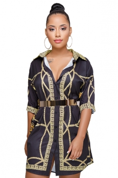 V Neck Turndown Collar Half Sleeve Dip Hem Printed Shirt Dress Black