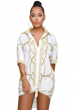 V Neck Turndown Collar Half Sleeve Dip Hem Printed Shirt Dress White