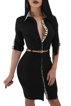 V Neck Rolled Sleeve Button Design With Belt Bodycon Shirt Dress Black