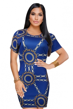 Vintage Crew Neck Short Sleeve Mini Print Bodycon Dress Blue