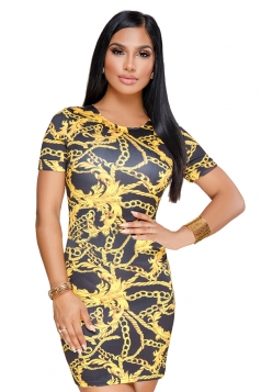 Vintage Crew Neck Short Sleeve Mini Print Bodycon Dress Black