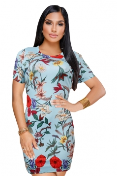 Vintage Crew Neck Short Sleeve Mini Print Bodycon Dress Light Blue