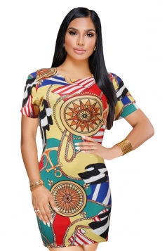 Vintage Crew Neck Short Sleeve Mini Print Bodycon Dress Multicolour