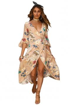 Deep V Neck Bell Sleeve Flower Print High Slit Maxi Dress Khaki