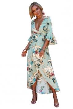 Deep V Neck Bell Sleeve Flower Print High Slit Maxi Dress Light Green