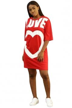 Crew Neck Half Sleeve Love Heart Print Loose Shirt Dress Red