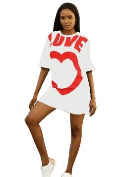 Crew Neck Half Sleeve Love Heart Print Loose Shirt Dress White