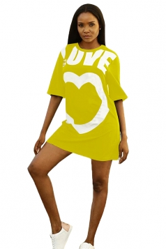 Crew Neck Half Sleeve Love Heart Print Loose Shirt Dress Yellow