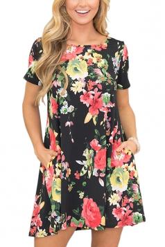 Casual Crew Neck Short Sleeve Flower Print Smock Dress Black