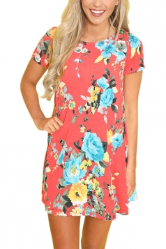 Casual Crew Neck Short Sleeve Flower Print Smock Dress Watermelon Red