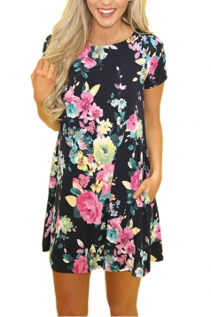 Casual Crew Neck Short Sleeve Flower Print Smock Dress Navy Blue