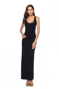 Elegant U Neck Sleeveless Close-Fitting Plain Maxi Tank Dress Black