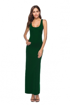 Elegant U Neck Sleeveless Close-Fitting Plain Maxi Tank Dress Dark Green