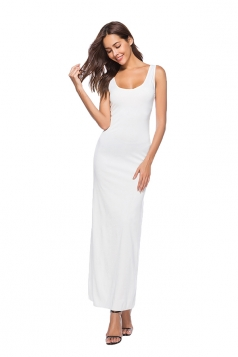 Elegant U Neck Sleeveless Close-Fitting Plain Maxi Tank Dress White