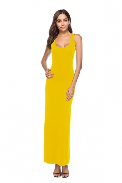Elegant U Neck Sleeveless Close-Fitting Plain Maxi Tank Dress Yellow