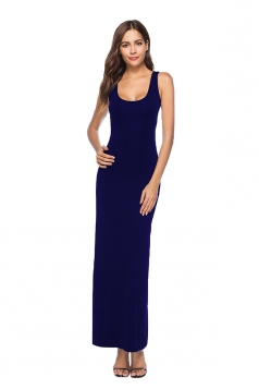 Elegant U Neck Sleeveless Close-Fitting Plain Maxi Tank Dress Navy Blue