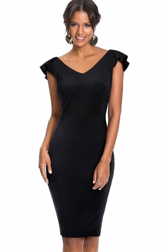 Womens Vintage Ruffle V Neck Backless Midi Bodycon Dress Black