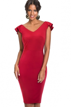 Womens Vintage Ruffle V Neck Backless Midi Bodycon Dress Red