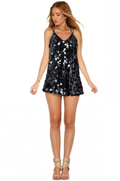 Womens Sexy Sequin V Neck Crisscross Backless Tank Dress Black