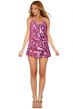 Womens Sexy Sequin V Neck Crisscross Backless Tank Dress Pink