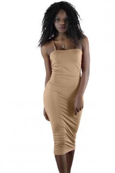 Womens Sexy Backless Bodycon Midi Spaghetti Strap Tank Dress Khaki