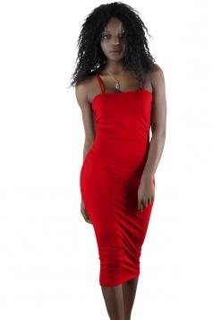 Womens Sexy Backless Bodycon Midi Spaghetti Strap Tank Dress Red