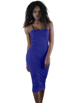 Womens Sexy Backless Bodycon Spaghetti Strap Tank Dress Sapphire Blue