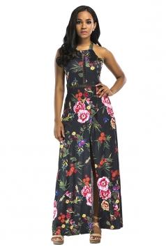 Halter Backless Lace Up Split Side Floral Print Maxi Dress Black