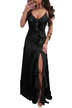 Deep V Neck Halter Backless Lace Up Split Side Plain Maxi Dress Black