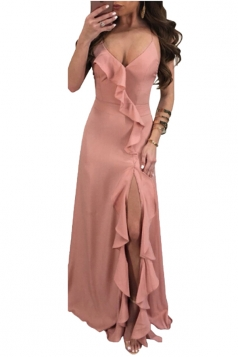 Deep V Neck Spaghetti Straps Backless Split Side Plain Maxi Dress Pink