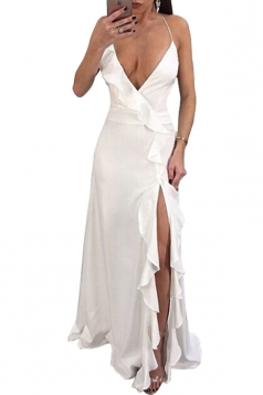 Deep V Neck Halter Backless Split Side Ruffle Hem Maxi Dress White