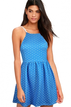 Sexy Sleeveless Backless Polka Dot Mini Skater Straps Dress Blue