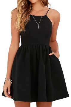 Sleeveless Backless With Pocket Plain Mini Skater Straps Dress Black
