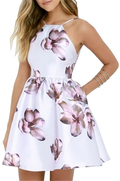 Sleeveless Backless Flora Print Mini Skater Straps Dress Light Purple