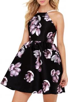 Sexy Sleeveless Backless Flora Print Mini Skater Straps Dress